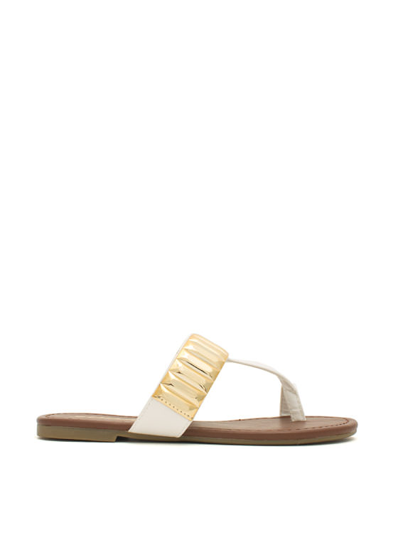 Plate Time T-Strap Sandals WHITE