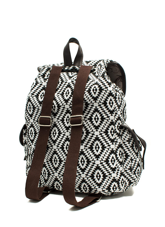 Canvas Aztec Drawstring Backpack BLACKWHITE
