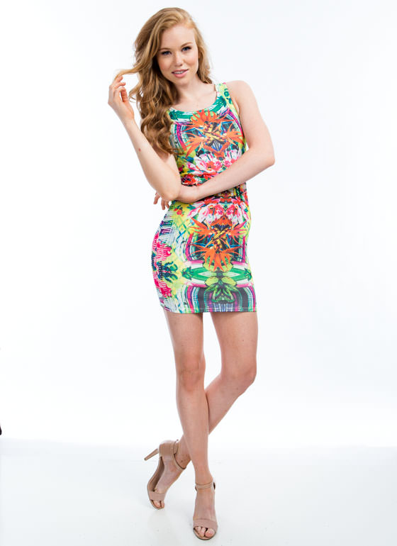Paradise Found Tropical Floral Dress PINKNGREEN