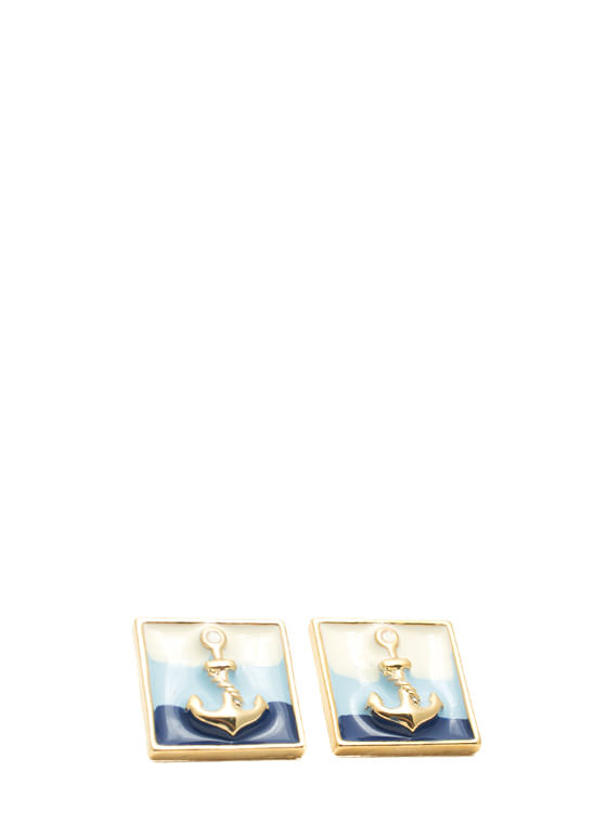 Framed Anchor Earrings NAVYMULTI