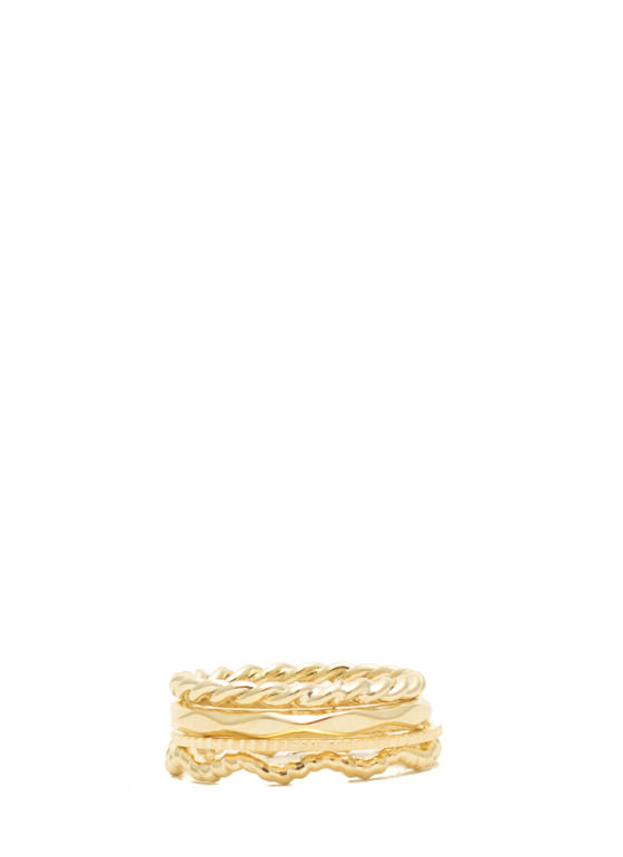 Textured Quad Ring Set GOLD
