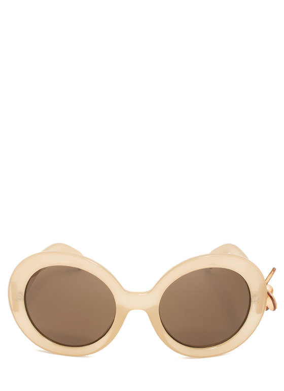 Butterfly Accent Sunglasses BEIGE