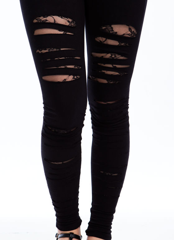 Traces Of Lace Shredded Leggings BLACK