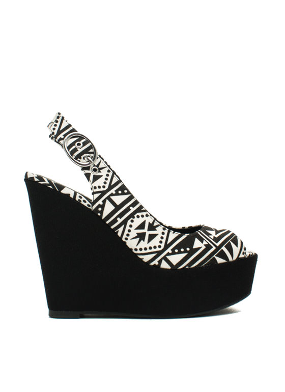 Aztec Peep-Toe Wedges BLACKWHITE