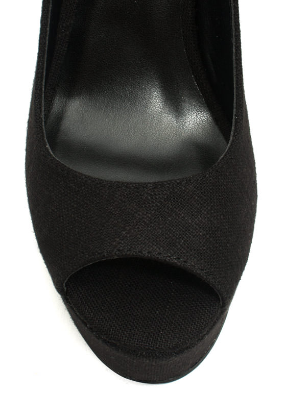 Linen Peep-Toe Wedges BLACK