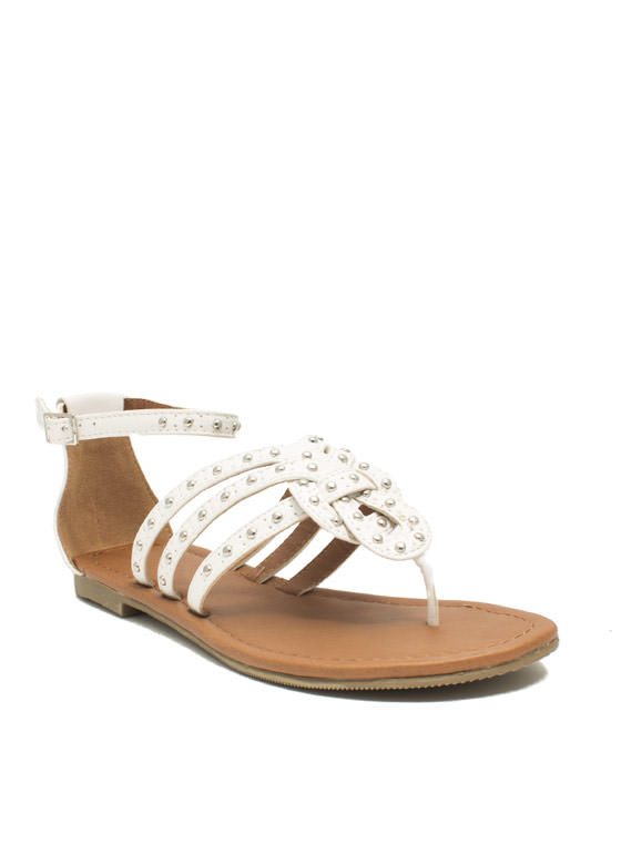 Forget Me Knot Embellished Sandals WHITE