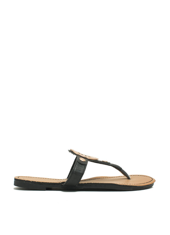 Cut-Out Medallion Thong Sandals BLACK