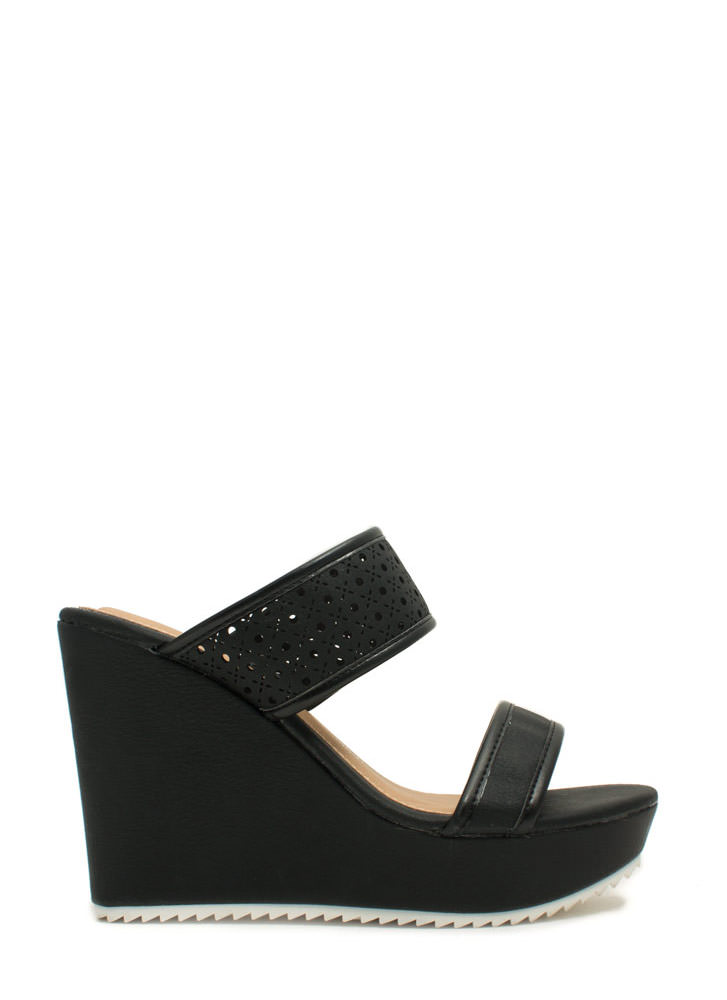 Perfectly Perforated Strappy Wedges BLACK