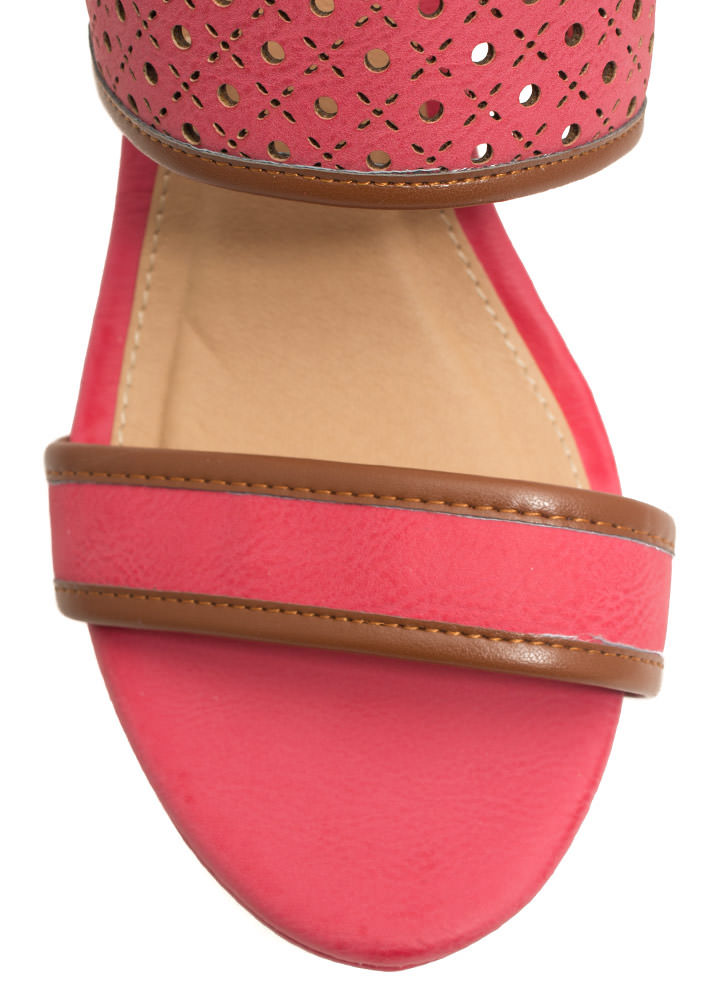 Perfectly Perforated Strappy Wedges CORAL