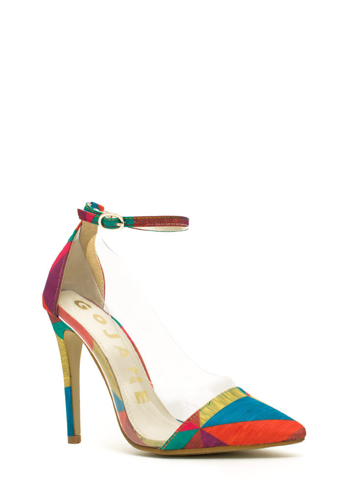 Traffic Colorblock Clear Inset Heels RAINBOW (Final Sale)