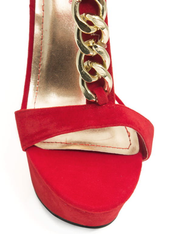 Chain Smokin' Strappy Cut-Out Wedges RED