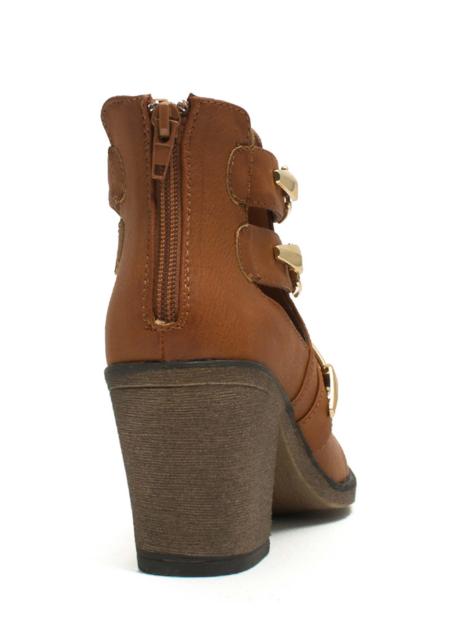 Three's Company Buckled Booties CHESTNUT