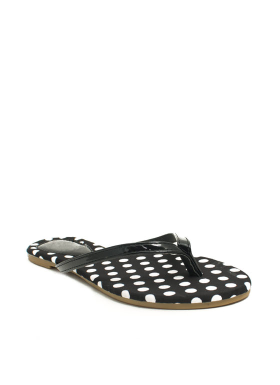 Patterned Print-cess Thong Sandals BLACKWHITE