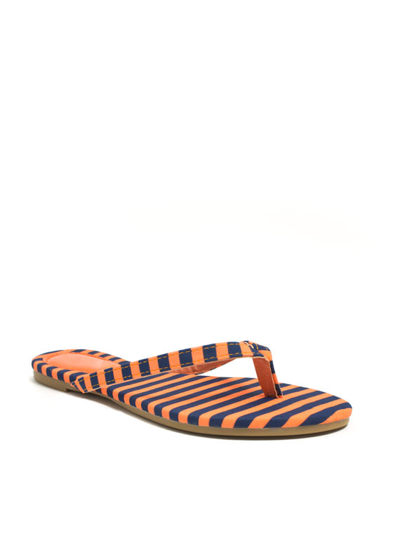 Patterned Print-cess Thong Sandals ORANGEBLUE