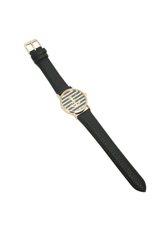 Faux Leather Striped Anchor Watch BLACKGOLD