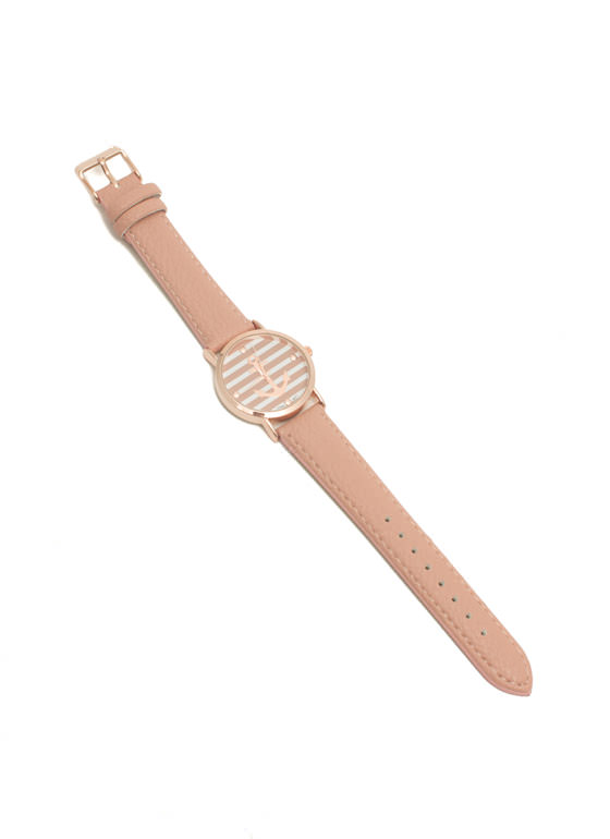 Faux Leather Striped Anchor Watch PINKRGOLD
