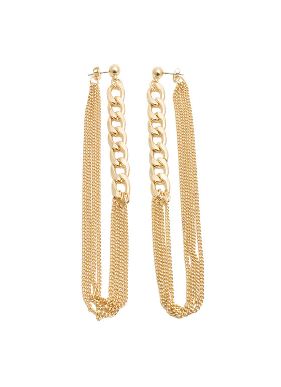 Double Up Chain Earrings GOLD