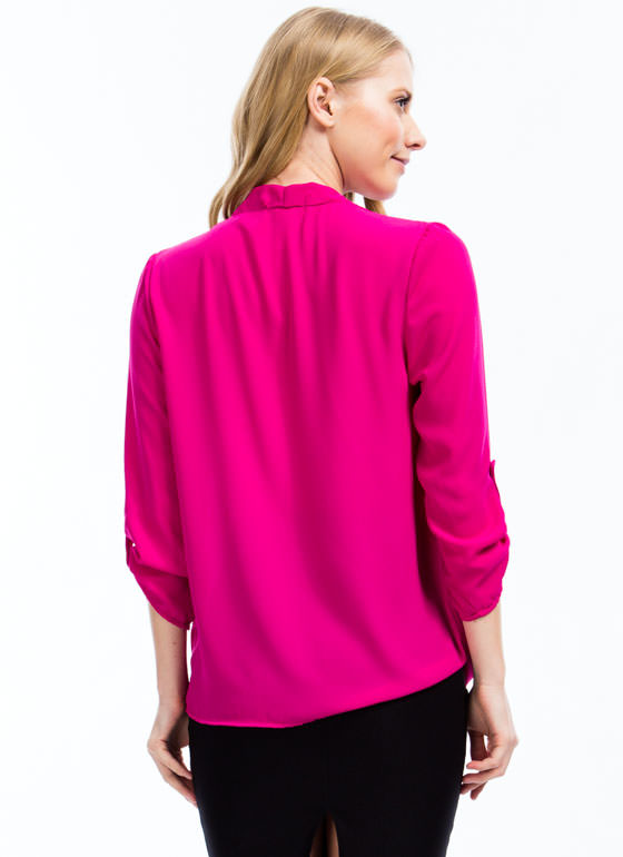Twist 'N Shout Surplice Top FUCHSIA