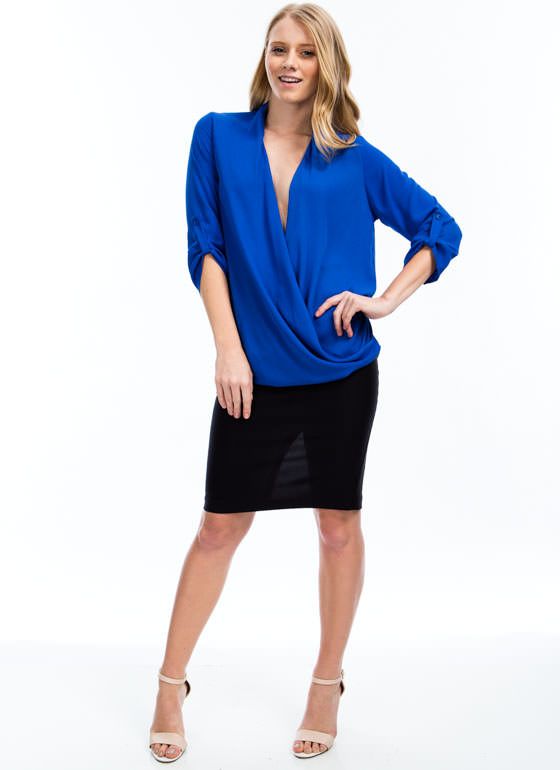 Twist 'N Shout Surplice Top ROYAL