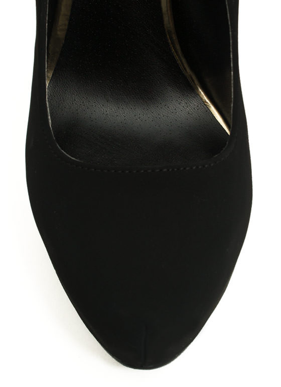 Stitched 'N Zipped Platform Heels BLACK