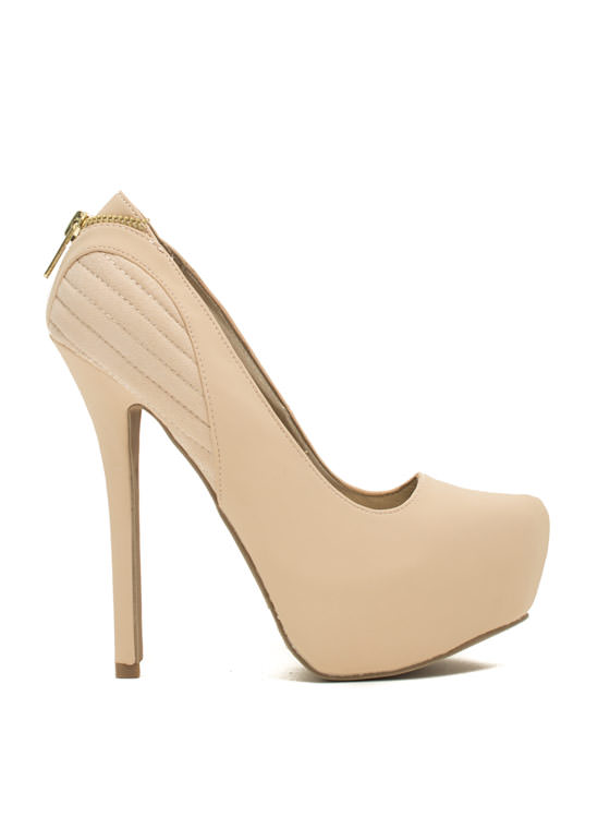 Stitched 'N Zipped Platform Heels NUDE