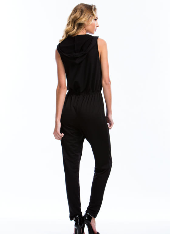 Hooded Terry Zip-Up Jumpsuit BLACK