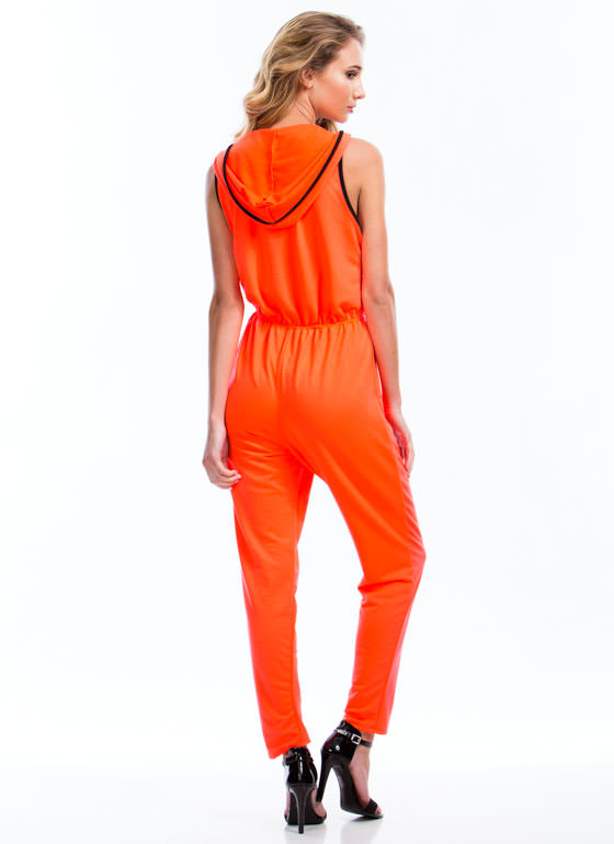 Hooded Terry Zip-Up Jumpsuit NEONCORAL