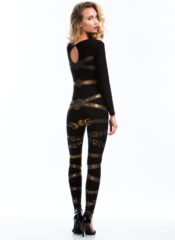 Sun 'N Moon Metallic Jumpsuit BLACK (Final Sale)