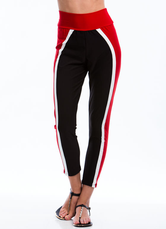 Vertical Colorblocked Joggers RED