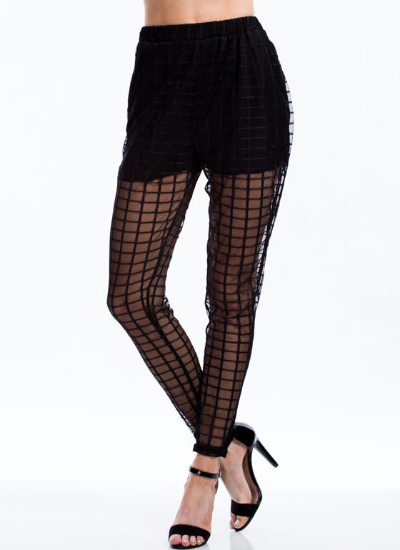 Go To Grid Lengths Sheer Mesh Pants BLACK (Final Sale)