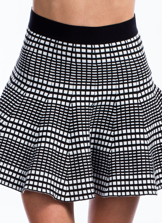 Grid Expectations Fit-N-Flare Skirt BLACK