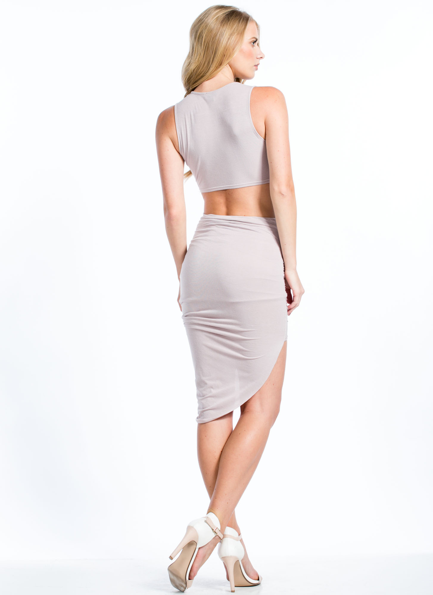 Drape Expectations Cut-Out Dress GREYLAVR