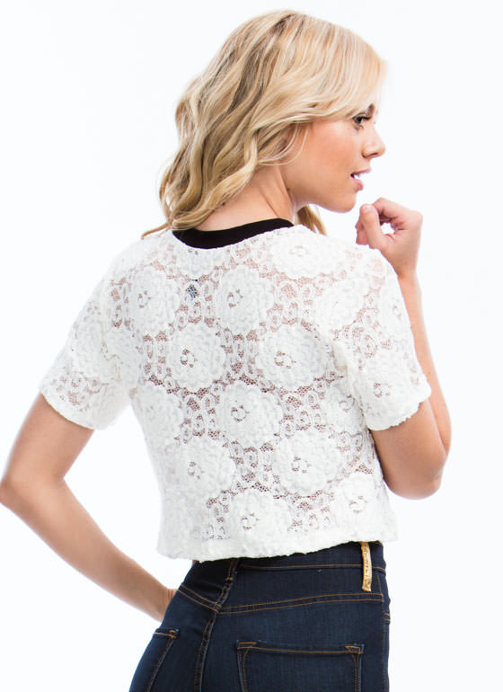 Floral Blooms Lace Cropped Top IVORY