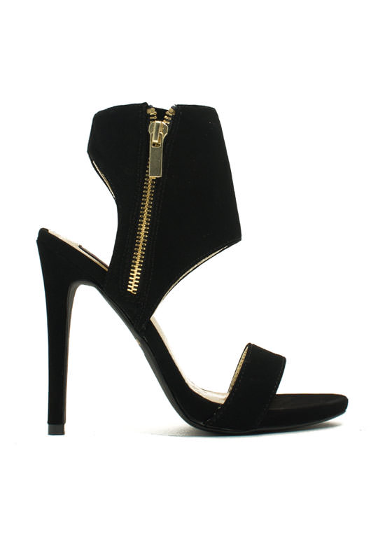 Wide Cuff Zippered Heels BLACK