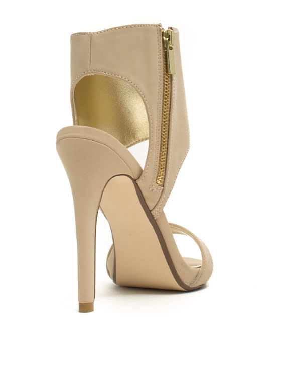 Wide Cuff Zippered Heels NUDE