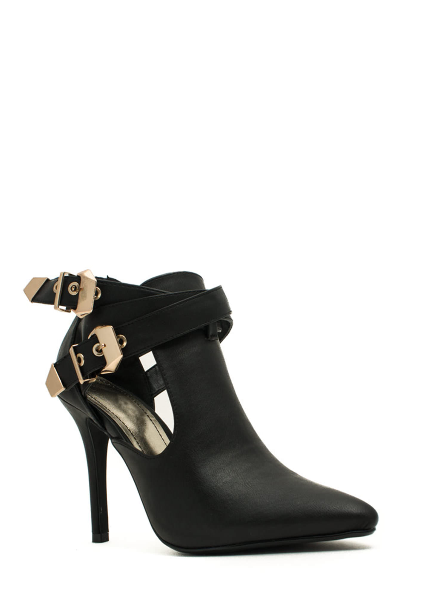 Edgy Girl Faux Leather Stiletto Booties BLACK