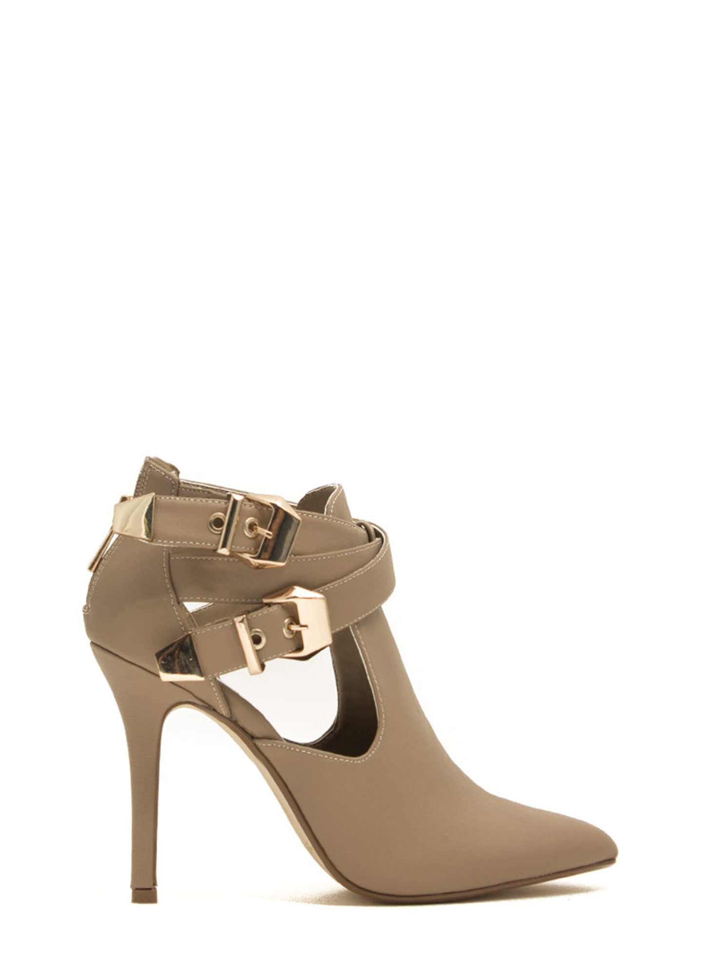 Edgy Girl Faux Leather Stiletto Booties NUDE