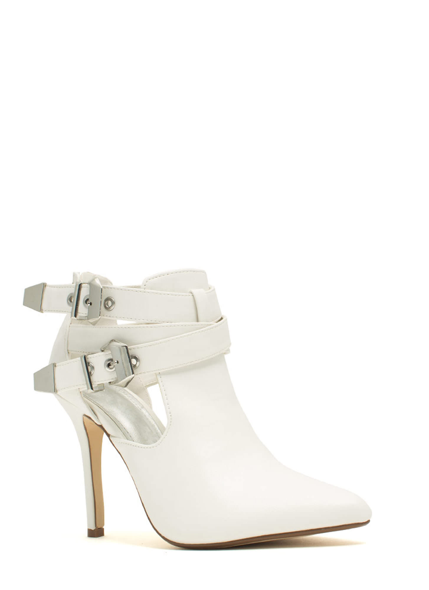 Edgy Girl Faux Leather Stiletto Booties WHITE(Final Sale)