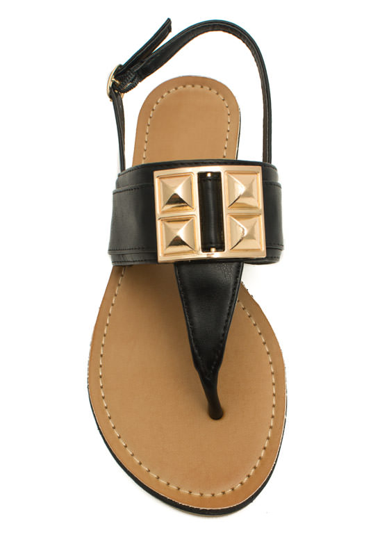 Faux Leather Studded T-Strap Sandals BLACK