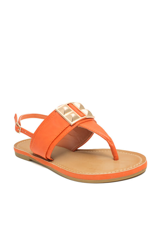 Faux Leather Studded T-Strap Sandals ORANGE