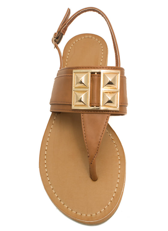 Faux Leather Studded T-Strap Sandals TAN