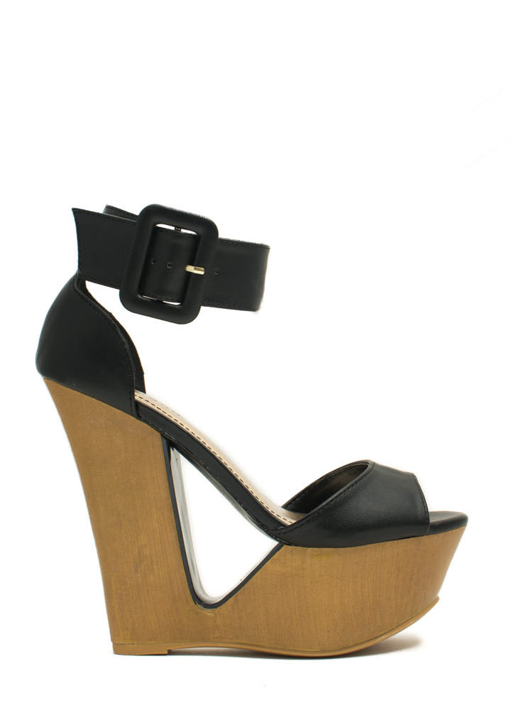Cut It Out Buckled Ankle Cuff Wedges BLACK (Final Sale)