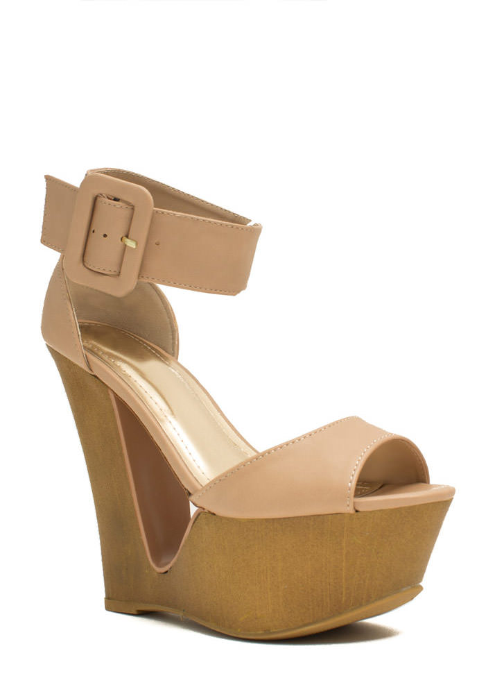 Cut It Out Buckled Ankle Cuff Wedges NUDE