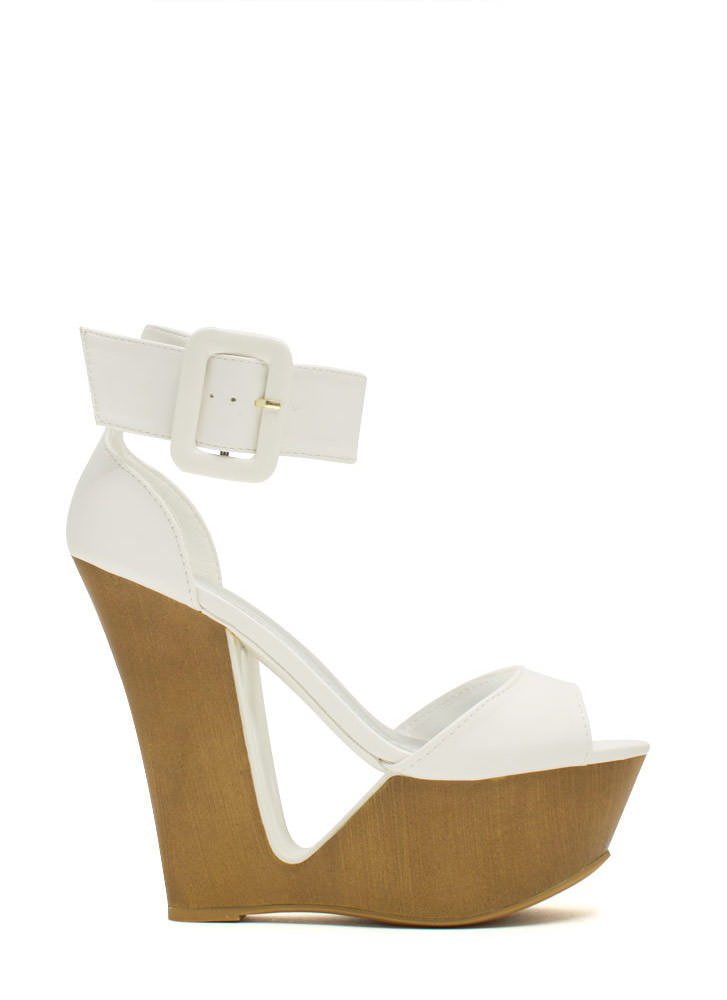 Cut It Out Buckled Ankle Cuff Wedges WHITE (Final Sale)