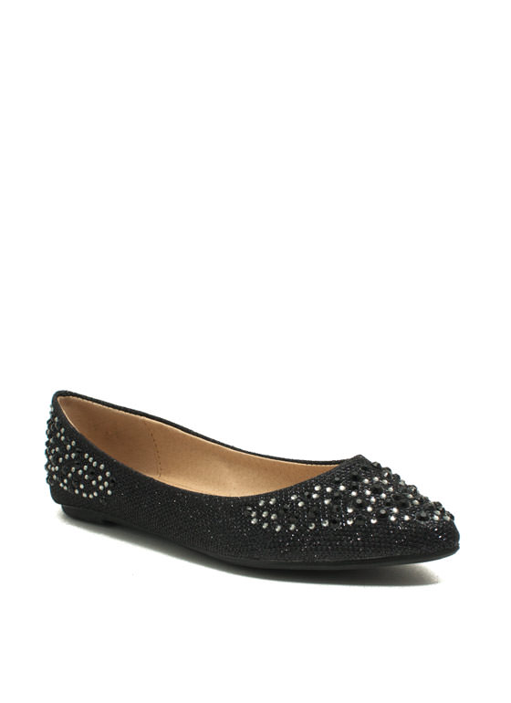 Twinkle Toes And Heels Glitter Flats BLACK
