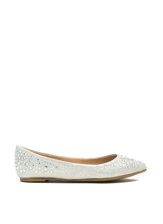 Twinkle Toes And Heels Glitter Flats SILVER