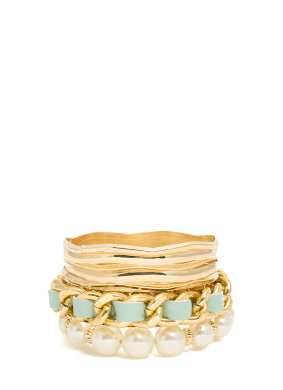 Chain 'N Pearls Bangle Set MINTGOLD