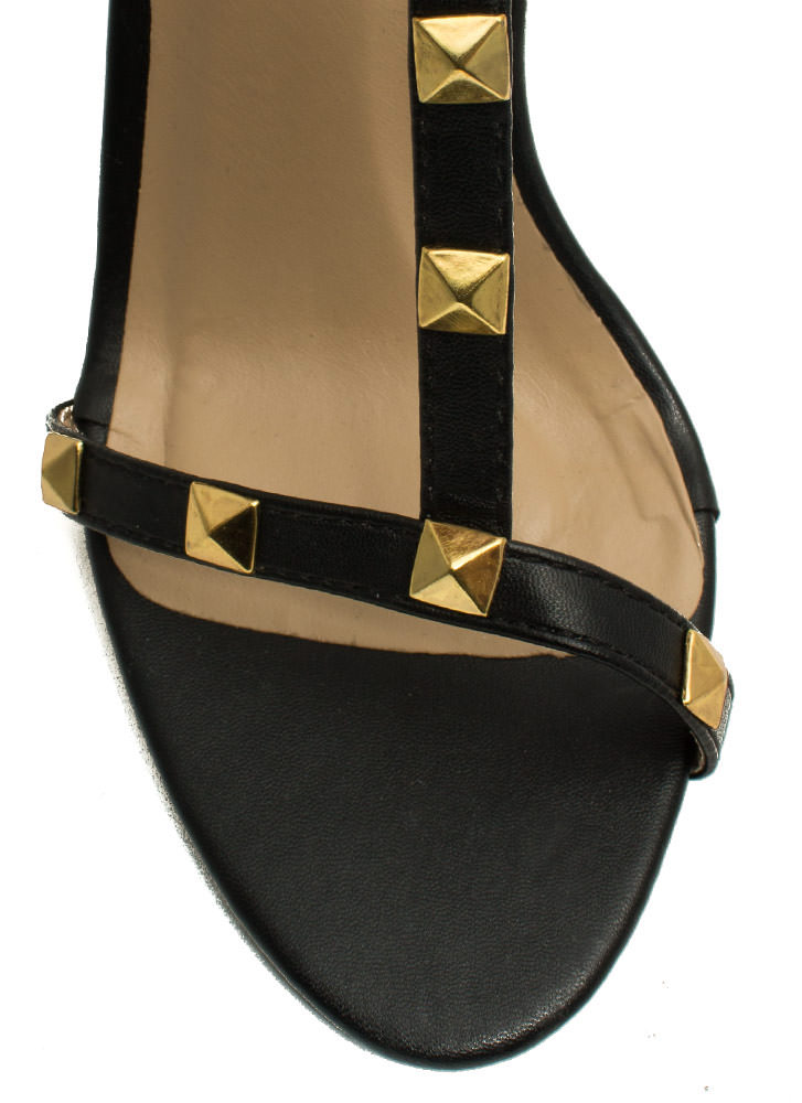 Pyramid Studded Strappy Wedges BLACK