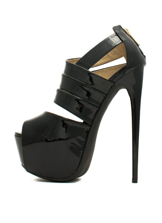 Ur The Boss Faux Patent Leather Heels BLACK