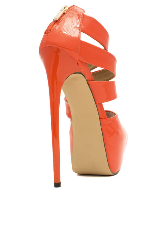 Ur The Boss Faux Patent Leather Heels ORANGE